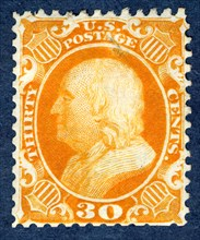 30c Franklin reprint single, 1875. Creator: Continental Bank Note Company.
