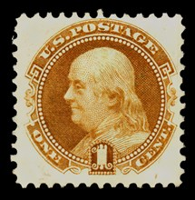 1c Franklin re-issue single, 1875. Creator: National Bank Note Company.