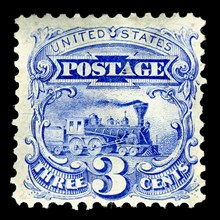 3c Steam Locomotive re-issue single, 1875. Creator: National Bank Note Company.