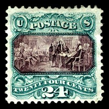 24c Declaration of Independence re-issue single, 1875. Creator: National Bank Note Company.
