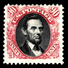 90c Abraham Lincoln re-issue single, 1875. Creator: National Bank Note Company.