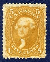 5c Jefferson single, 1861. Creator: National Bank Note Company.