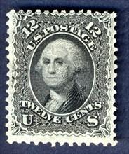 12c Washington E Grill single, 1867. Creator: National Bank Note Company.