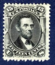 15c Abraham Lincoln E Grill single, 1867. Creator: National Bank Note Company.