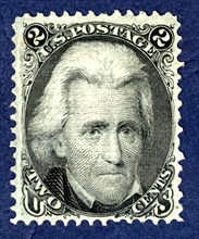 2c Andrew Jackson F Grill single, 1867. Creator: National Bank Note Company.