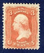 3c Washington F Grill single, 1867. Creator: National Bank Note Company.