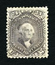 24c Washington F Grill single, 1867. Creator: National Bank Note Company.