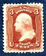 3c Washington re-issue single, 1875. Creator: National Bank Note Company.
