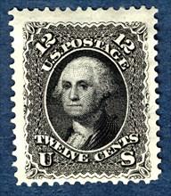 12c Washington re-issue single, 1875. Creator: National Bank Note Company.
