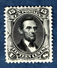 15c Abraham Lincoln re-issue single, 1875. Creator: National Bank Note Company.