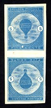 5c Buffalo Balloon imperforate vertical pair, 1877. Creator: Unknown.
