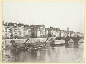 """Le Pont-Neuf, les quais, les bains """"A la Samaritaine"""" et la Tour St Jacques, 1847, printed 1965. Creator: Hippolyte Bayard."""