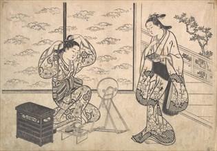 Two Women in a Room Opening on a Verandah, ca. 1730. Creator: Hasegawa Mitsunobu.