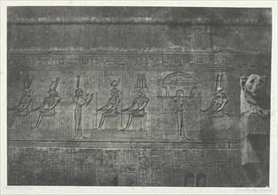 Grand Temple de Dendérah (Teutyres), Sculptures de la Façade Postérieure; Haute-Egypte, 1849/51. Creator: Maxime du Camp.