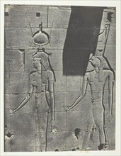 Kalabscheh, Sculptures De La Façade Postérieure Du Temple; Nubie, 1849/51, printed 1852. Creator: Maxime du Camp.
