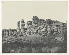 Palais de Karnak, Salle Hypostyle, Prise à l'Angle Nord-Est; Thèbes, 1849/51, printed 1852. Creator: Maxime du Camp.