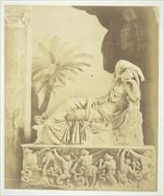 Untitled (Statue of Woman Reclining Atop a Sarcophagus), c. 1857. Creator: Robert MacPherson.