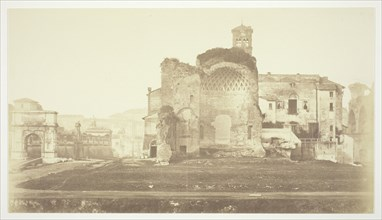 Untitled (Temple of Venus and Rome, Triumphal Arch and other ruins in Forum), c. 1857. Creator: Robert MacPherson.