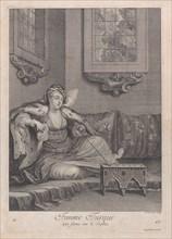Femme Turque, qui fume sur le Sopha, 1714-15. Creator: Unknown.
