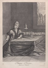 Femme Turque, filant au Tandour, 1714-15. Creator: Unknown.