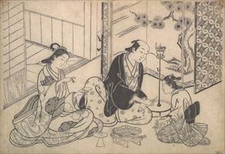 Interior, Three Figures: Sake Party, ca. 1730. Creator: Hasegawa Mitsunobu.
