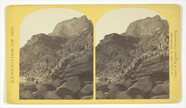 View of Grand Cañon walls, near mouth of Diamond River. From water line to first shelf..., 1871. Creator: Tim O'Sullivan.