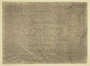 Historic Spanish Record of the Conquest, South Side of Inscription Rock..., 1873. Creator: Tim O'Sullivan.