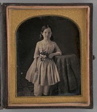 Untitled (Portrait of a Girl Holding Flowers), 1847. Creator: Unknown.