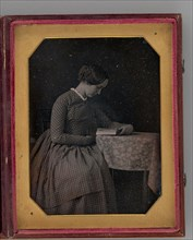 Untitled (Portrait of a Seated Woman, Reading), 1845. Creator: Unknown.