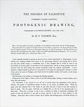 The Process of Talbotype (formerly called Calotype) Photogenic Drawing, Communicated..., 1841. Creator: William Henry Fox Talbot.