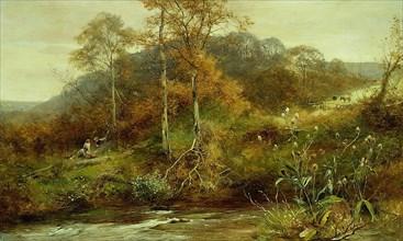 Autumn River Scene, The Brook, 1889. Creator: David Bates.