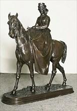 Amazon: Mme. L. Riding Monte Cristo, Pure-Bred English Horse, 1865. Creator: Pierre-Jules Mene.