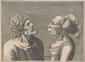 Two Grotesque Heads, 1538-73. Creator: Hans Liefrinck.