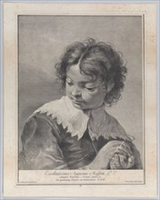 Boy with a lace collar holding a piece of fruit in his hands, 1743.  Creator: Giovanni Cattini.