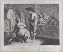 A barmaid filling mugs..., 1760-70. Creator: Giovanni Volpato.