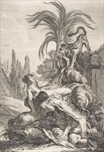The Frightened Naïad (Une naïade échevelée recule d'efroi à la vue d'un lion), ca. 1740., Creator: Jean-Baptiste-Marie Pierre.