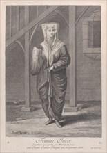 Femme Juive, Courtiere qui porte ses Marchandises aux Juenes Dames Turques qui ne peuve..., 1714-15. Creator: Unknown.