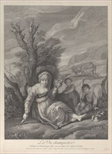 A country woman sitting in landscape with two boys at her side, 1729-40. Creator: Gérard Jean-Baptiste Scotin.