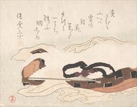 Belt and Fan on a Piece of Cloth, 19th century. Creator: Kubo Shunman.