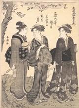 Two Women Accompanied by a Maid, 1780-1795. Creator: Katsukawa Shuncho.