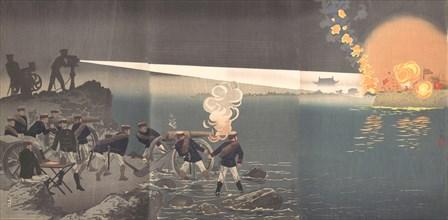 Use of Electric Light at the Time of Attack on Bingyang, Korea, late 19th century. Creator: Kobayashi Kiyochika.