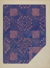 Piece of a Coverlet - Cobalt Blue & Rose, c. 1936. Creator: Katherine Hastings.