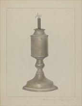 Whale Oil Lamp, c. 1938. Creator: Cora Parker.
