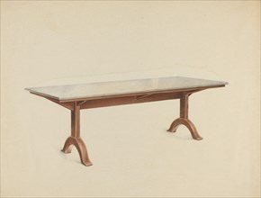 Shaker Dining Table with Marble Top, c. 1953. Creator: John W Kelleher.