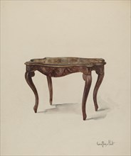 Marquetry Table, Showing Style, c. 1937. Creator: Geoffrey Holt.
