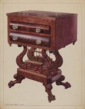 Table - Double Lyre Base, 1937. Creator: J. Howard Iams.
