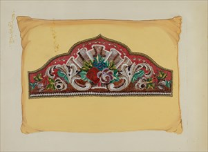 Embroidery on Pillow, c. 1936. Creator: Florence Huston.
