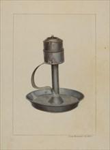 Whale Oil Lamp, c. 1938. Creator: James M. Lawson.