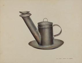 Whale Oil Lamp, 1935/1942. Creator: James M. Lawson.