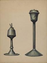 Two Oil Lamps, c. 1938. Creator: Walter Hochstrasser.